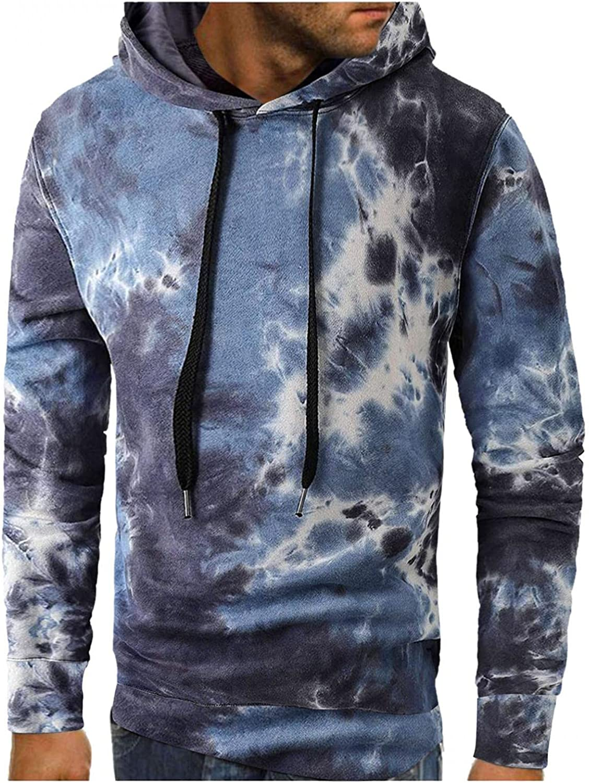 KEEYO Hoodies for Men, Mens Tie Dye Hooded Sweatshirt Casual Soft Cozy Slouchy Drawstring Fall Pullover Jumper Tops