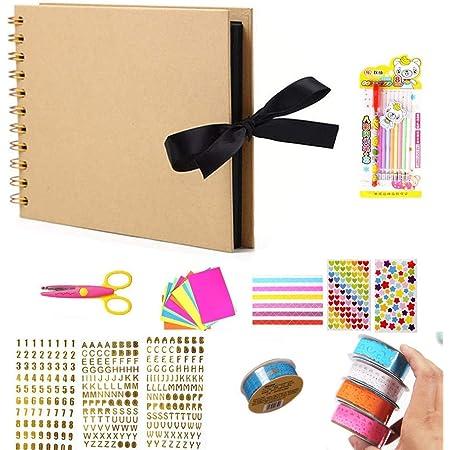 Tangger DIY Album Photo Scrapbooking Kit, Album Photos à Scrap Book Comprend Un Ciseaux Nombre Lettre Autocollant Eau Craie pour Cadeau Graduation Anniversaire,25PCS