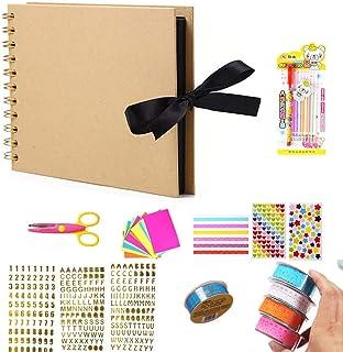 Tangger DIY Album Photo Scrapbooking Kit, Album Photos à Scrap Book Comprend Un Ciseaux Nombre Lettre Autocollant Eau Crai...