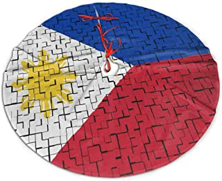 Philippine Flag Puzzle Christmas Tree Skirts Thick Round Tree Skirt Rustic Xmas Tree Skirt Wear-Resistant Christmas Supply Traditional Xmas Ornaments for Christmas New Year Party