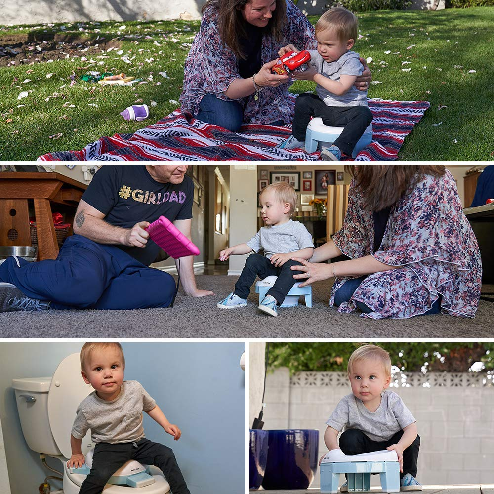 Portable Potty and Training Seat with Free Travel Bag for Toddlers (Sky Blue) by GuGu Tots