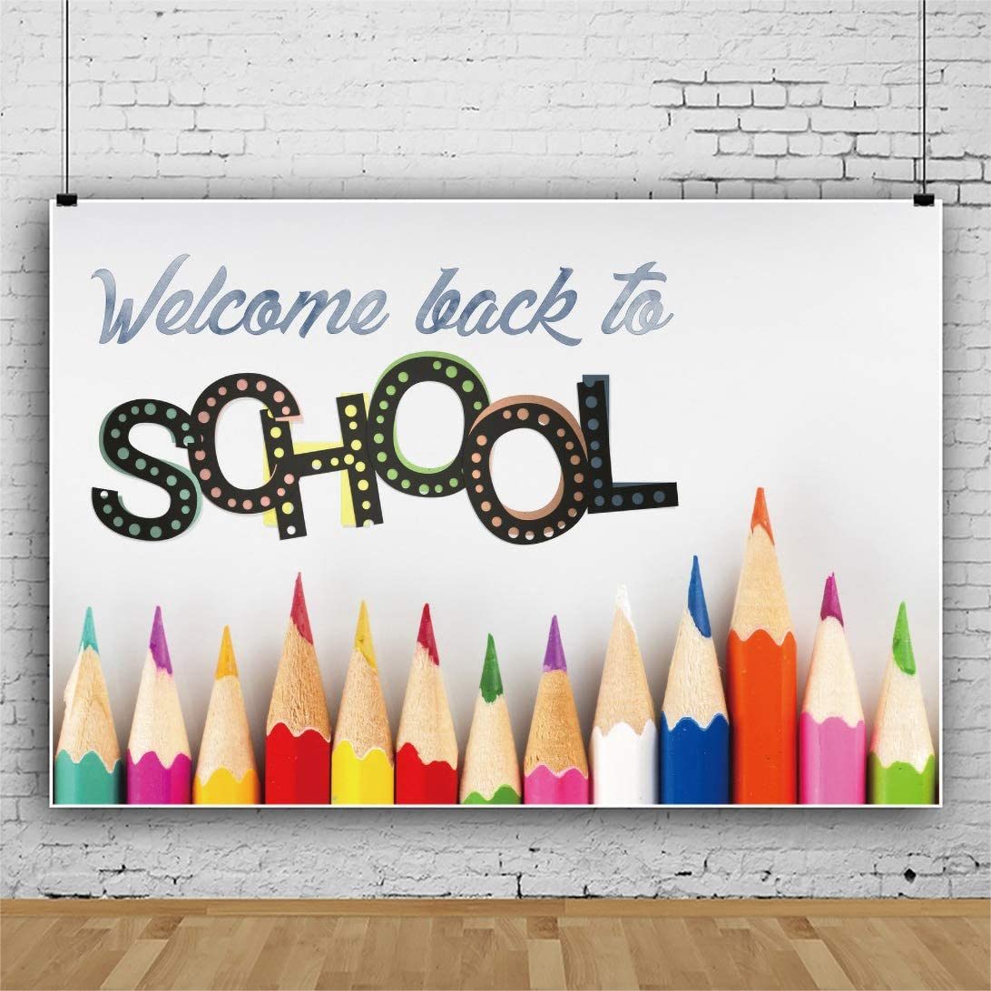 Leowefowa outlet Back to School Backdrop Pencils 9x6ft Weekly update Backgro Colorful