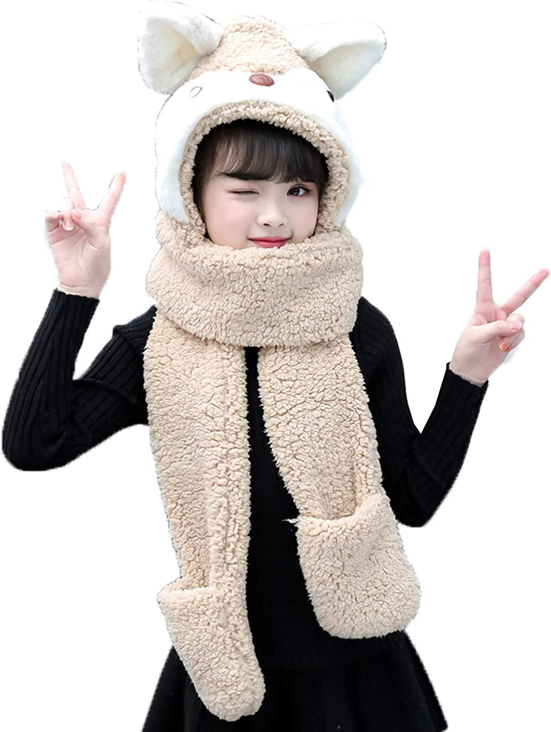 Children Winter Hat Scarf Gloves Set, Cute Fluffy Plush Hoodie Hat with Long Scarf and Pockets Gloves, for Children 5-10 Years Old,Khaki,M