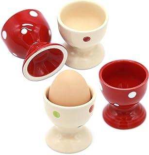 Lofekea Egg Cups, Set of Four Ceramic Polka Dot Egg Cups Porcelain Egg Holders - Gifts for Kitchen