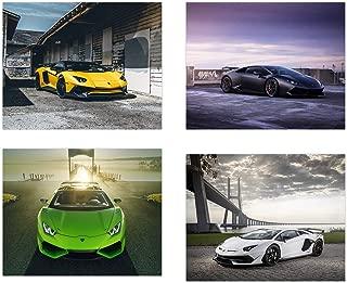 Insire Lamborghini Poster | Set of Four 8x10 Cars Prints| Aventador | S Supercar | Canaan | Huracan | Perfect Wall Art Gift | Set 2