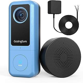 GazingSure Videocitofono WiFi, 2K QUAD HD, citofono con campanello, zona di rilevamento intelligente, funziona con Alexa, ...