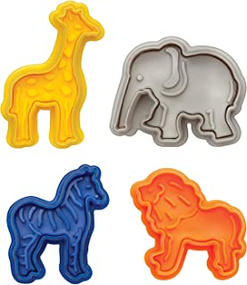 Vpang 4 Pcs Animal Cracker Cookie Cutters Set Pastry Cookie Fondant Stamper Mould with Lion, Elephant, Zebra and Giraffe Shapes