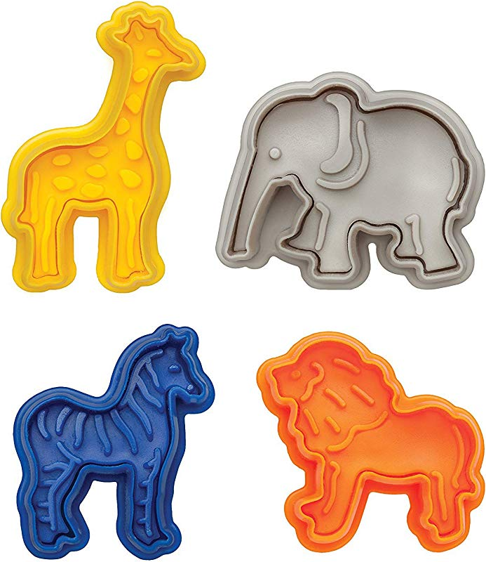 Vpang 4 Pcs Animal Cracker Cookie Cutters Set Pastry Cookie Fondant Stamper Mould With Lion Elephant Zebra And Giraffe Shapes