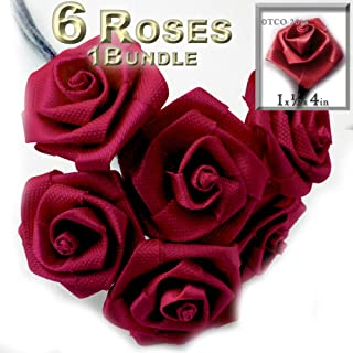 The Crafts Outlet One Bundle 6 Handmade Folded Ribbon Roses, 1.0-inch Wide Rose 4-inch Long Wire stem, Red