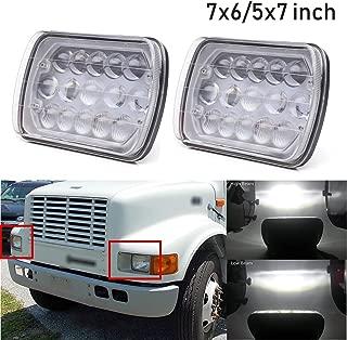 5x7 LED Headlamps 7x6 inch Headlights H6014 H6052 H6054 6054 Hi/Lo Beam 90W 6000K White Fit for International 4700 4900 1978-1896 Truck, 2pcs 2 Yr Warranty