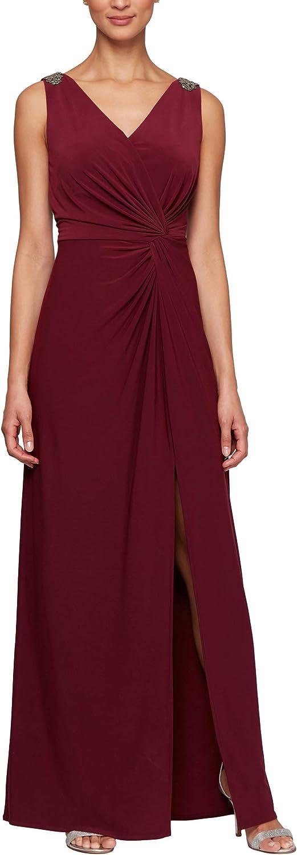 Alex Evenings Women's Long Dress with Knot Front Detail