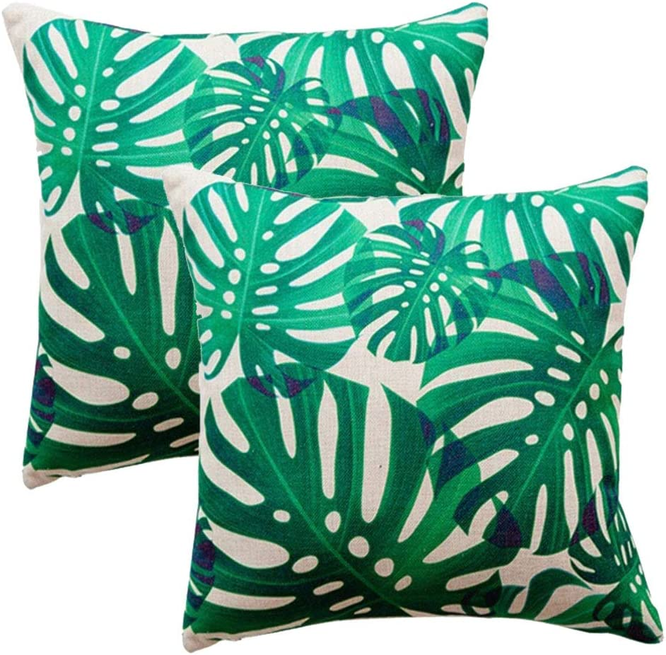 200COLORROOM Tropical Leaf Throw Pillow Covers Monstera Palm Tree Green  Leaves Design Cushion Cover Square Home Decorative Pillowcases 200x200  inch,20Pack ...