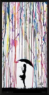Culturenik Marc Allante Girl Blowing Dandelion Under Umbrella Paint Rain Modern Contemporary Decorative Art Print (Framed 12x24 Poster)