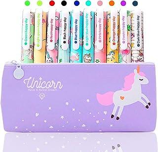 10 Pz Unicorno Penne con Astuccio Regalo di Compleanno per Bambine Età 3 4 5 6 7 8 9 10 Anni, TOYESS Simpatiche Penne per ...
