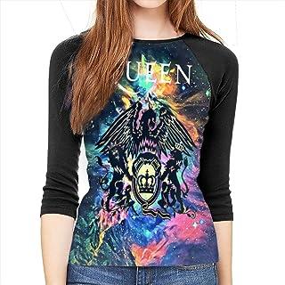 Siuwud Queen Rock Band Freddie Mercury Womens 3/4 Sleeve 3D Baseball T-Shirt 3D Print Sports Raglan Tee Shirts