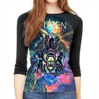 Queen Rock Band Freddie Mercury 3/4 Sleeve Womens 3D Print Baseball T-Shirt Raglan Tee T-Shirts