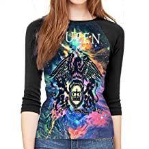 Queen Rock Band Freddie Mercury 3/4 Sleeve Womens 3D Print Baseball T-Shirt Raglan Tee T-Shirts