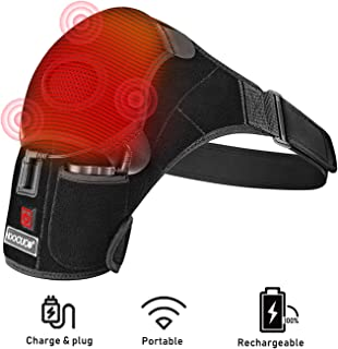 Shoulder Wrap Brace Heating Pad Portable Adjustable Electric 3 Heat Settings Support Hot Therapy Pain Relief Stiff Soreness,Frozen Shoulder, Bursitis, Tendonitis Rotator Cuff