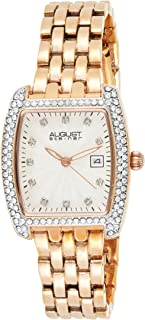 August Steiner Women's Crystal Bezel Fashion Watch - Textured Glittering Dial with Bonus Date Window on Tone Stainless Ste...