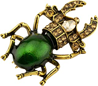 Knighthood Vintage Golden and Green Bee with Swarovski Detailing Lapel Pin/Brooch