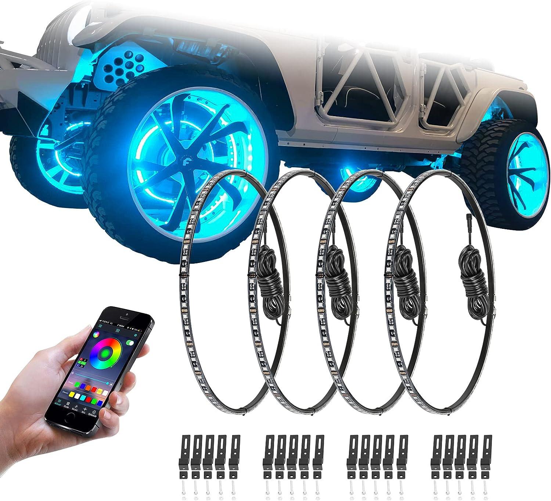 Niking Auto 4Pcs 15.5 Inch RGB Bluetoo LED discount Light Sale item Ring Kits Wheel