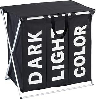 WENKO Panier à linge Trio Top noir - corbeille à linge Capacité: 118 l, Polyester, 57 x 57 x 38 cm, Noir