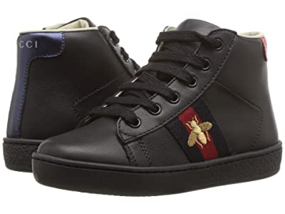 Gucci Kids New Ace High Top Sneaker (Toddler) (Black) Kids Shoes