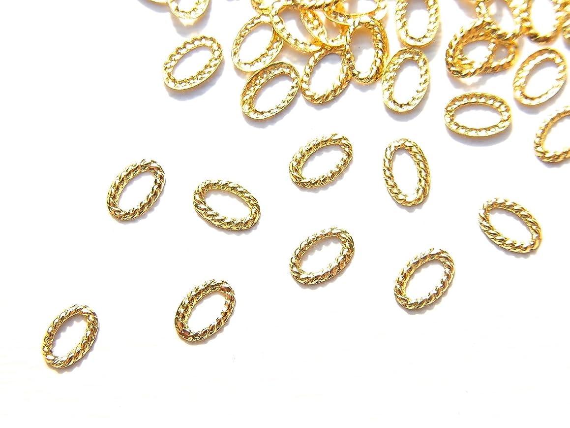 恐怖要求敵【jewel】ug19 薄型ゴールド メタルパーツ オーバル型ツイストリング 長円 10個入り ネイルアートパーツ レジンパーツ