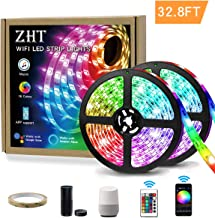 ZHT 32.8ft 10m LED Strip Lights, Waterproof WiFi LED Lights Strip with 300 LEDs SMD 5050 RGB Rope Lights, Sync to Music, 24 Key Remote Control and Work with Alexa/Google Home Kitchen Party