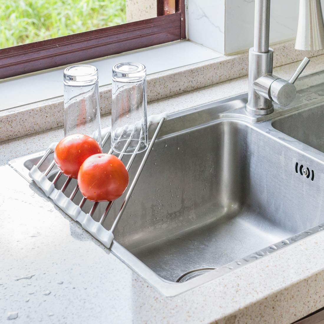 Amazon Com Roll Up Dish Drying Rack For Sink Corner Triangle Heavy Duty Heat Resistant Over The Sink Drying Rack Roll Up Drainer Mat With White Silicone Grips And Stainless Steel Pipes 17 5x9 2