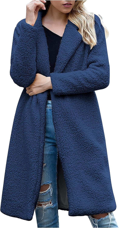 Women's Fashion Long Sleeve Lapel Cardigan Faux Shearling Shaggy Oversized Coat Jacket with Pockets Warm Winter