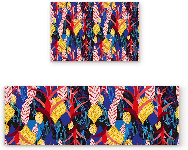 SODIKA Non Slip Kitchen Rug Set 2 Piece, Floor Mat Carpet Runner,Tropical Plant Leaves (19.7x31.5in+19.7x47.2 inches)