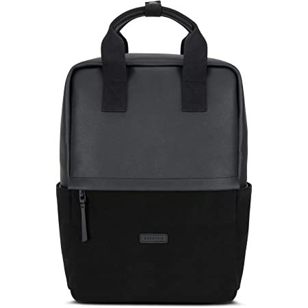 Expatrié Rucksack Damen Mila Daypack aus Baumwoll Canvas & veganem Leder - Tagesrucksack Klein für Freizeit & Business - 12 Liter Tasche mit 15 Zoll Laptopfach