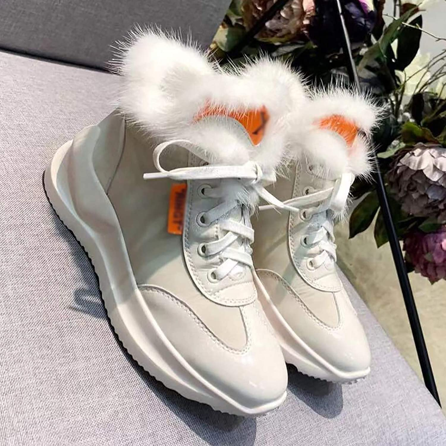 Winter Sports shoes, ins Leather Mane Flat Base Thickening,White,37
