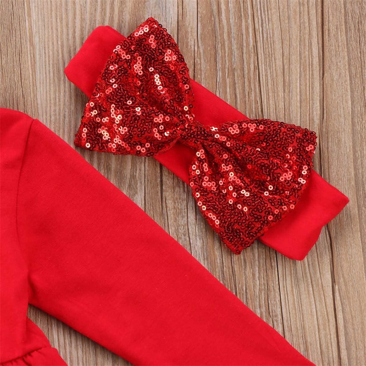 Toddler Baby Girl Outfit Set Kids Princess Dress Pants Clothes Skirt Ruffle with Headband