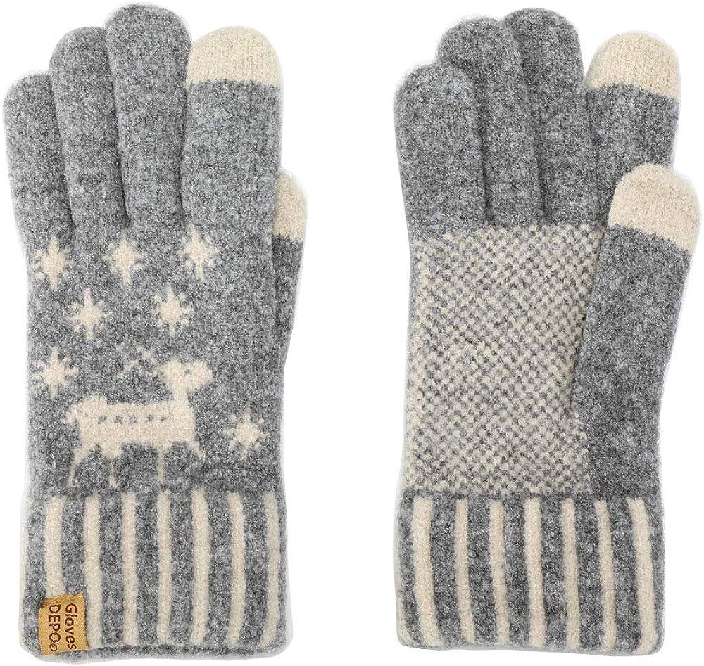 Touch Screen Women's Winter Warm Gloves The Premier Cream puff yarn Knit Exquisite Soft Stretch Knit Magic Mittens Reindeer