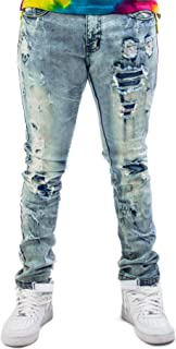 Men's Ripped Torn up Slim Fit Stretch Racer Washed Denim Regular Plus Size Jeans Tall and Big