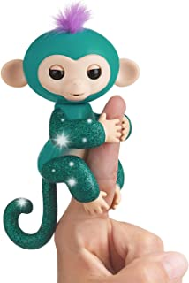 Fingerlings Glitter Monkey - Quincy - Teal Glitter - Interactive Baby Pet - By WowWee (Amazon Exclusive)
