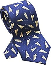 product image for Josh Bach Men's Paper Airplanes Silk Necktie Blue, Made in USA