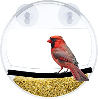 Acrylic Window Bird Feeder with Strong Suction Cup, Unique Round Design Bird House Feeder with Feed Tray for Wild Birds - ...