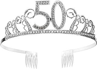 Tiara Cumpleaños Corona 50TH con Peine Artículos de Fiesta y Decoraciones Accesorios Plata Cristal Diademas Mujer Princesa...
