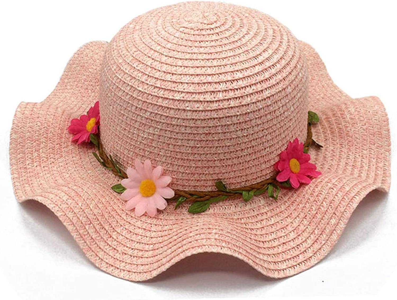 Heart to hear hat Sunflowers Sun Hats for Women Beach CAPS Baby Girls Sun Visor Cap Wave Edge Stra,Pink Beach Cap,Adult 57cm