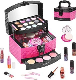 Awefrank Kids Makeup Kit for Girls, Washable Cosmetics with Luxury Diamond Pattern Box, Real...