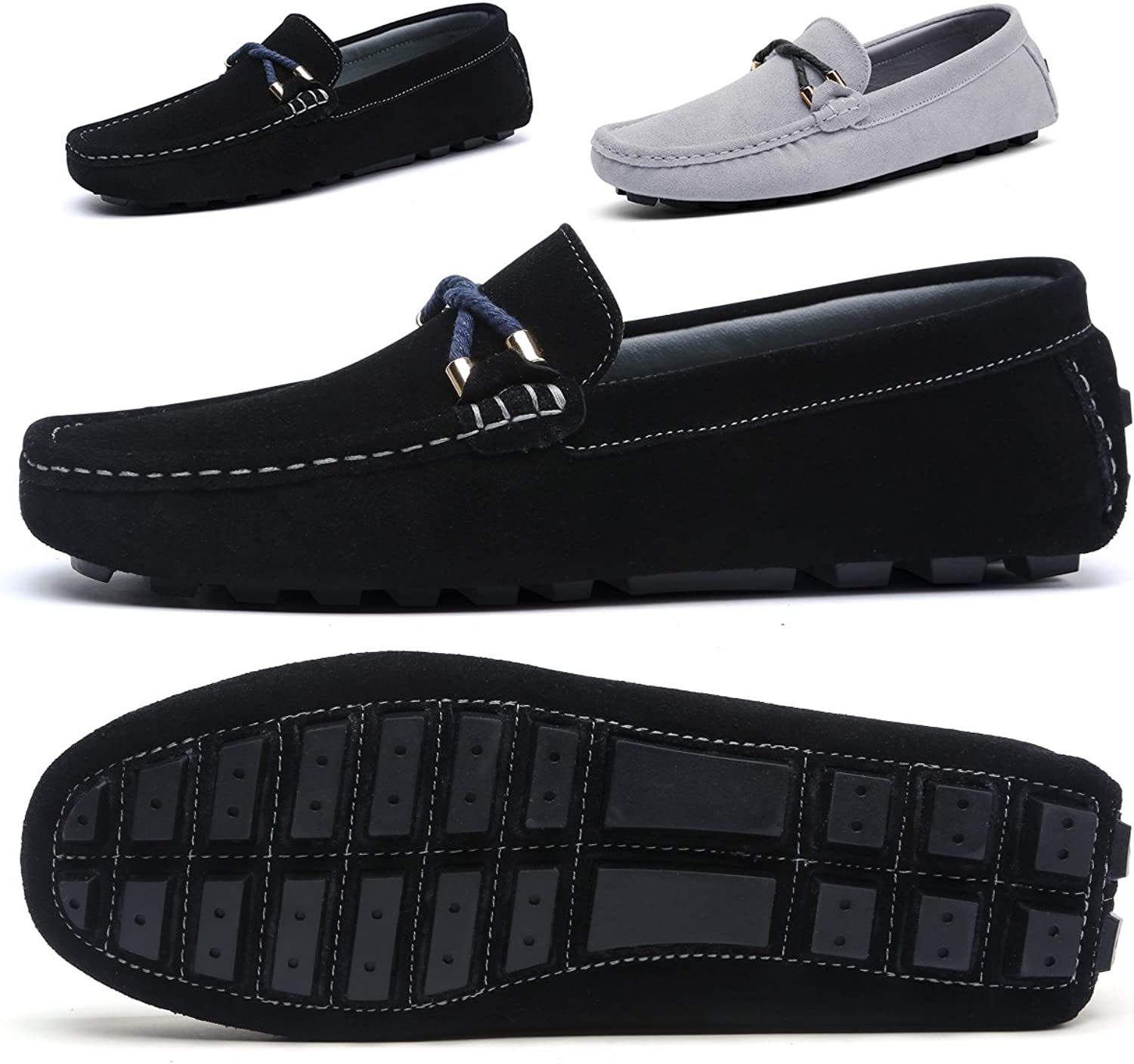 SONLLEIVOO Mens Slip On shoes Penny Loafers Moccasin Footwear Suede Driving Leather Moccasins Flat Black Boat shoes