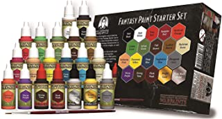 The Grinning Gargoyle GAR-FPS001 - Fantasy Paint Starter Set - Acrylic Paints for Miniatures - 20x Assorted 18ml Colours - Includes a Paint Brush - Warpaints - Army Painter