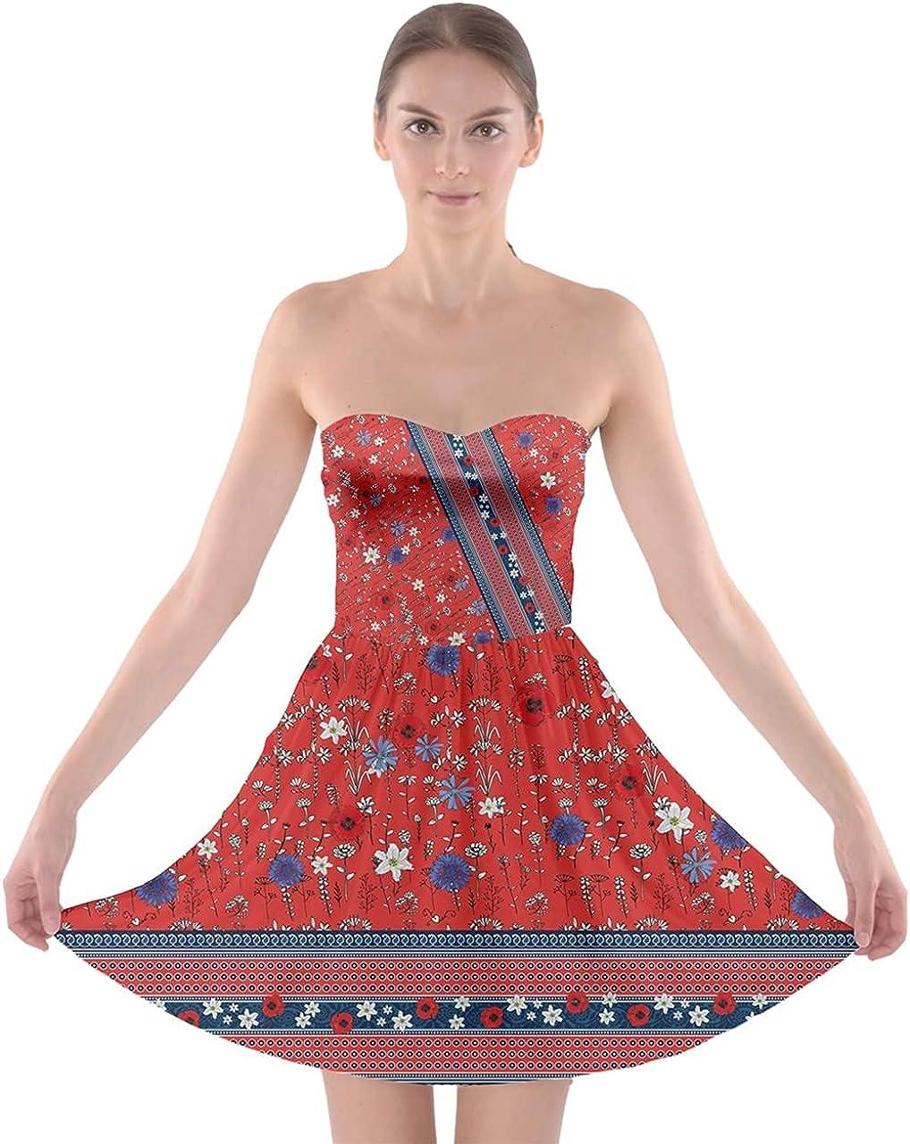 CowCow Womens Strapless Tube Top Dress Summer Frangipani Floral Sexy Bra Top Dress, XS-5XL