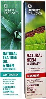 Desert Essence Toothpaste Natural Tea Tree Oil & Neem Toothpaste - 1 Wintergreen & 1 Cinnamint - Baking Sod...