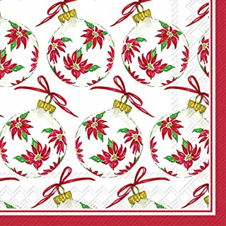 Boston International Roseanne Beck Lunch Napkins, 20 CT, Poinsettia Ornaments