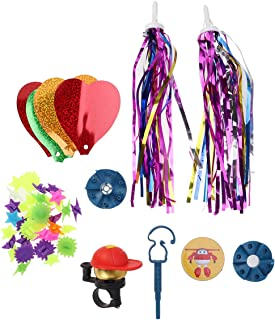LIOOBO Kids Bike Scooter Decor Accessories Bike Streamers Colorful Beads Bell Small Windmill Bike Carrier Parts (Random Color)