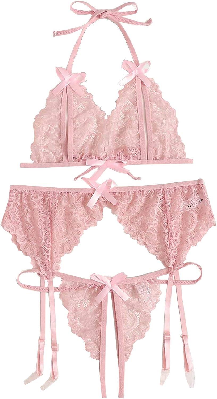 Fashionable WDIRARA Women's 3 Pieces Lace Halter Li Sexy Garter 2021 autumn and winter new Scallop Trim
